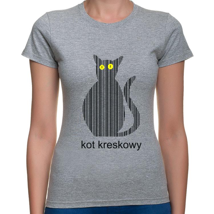 Koszulka Z Nadrukiem Kot Kreskowy Damskie